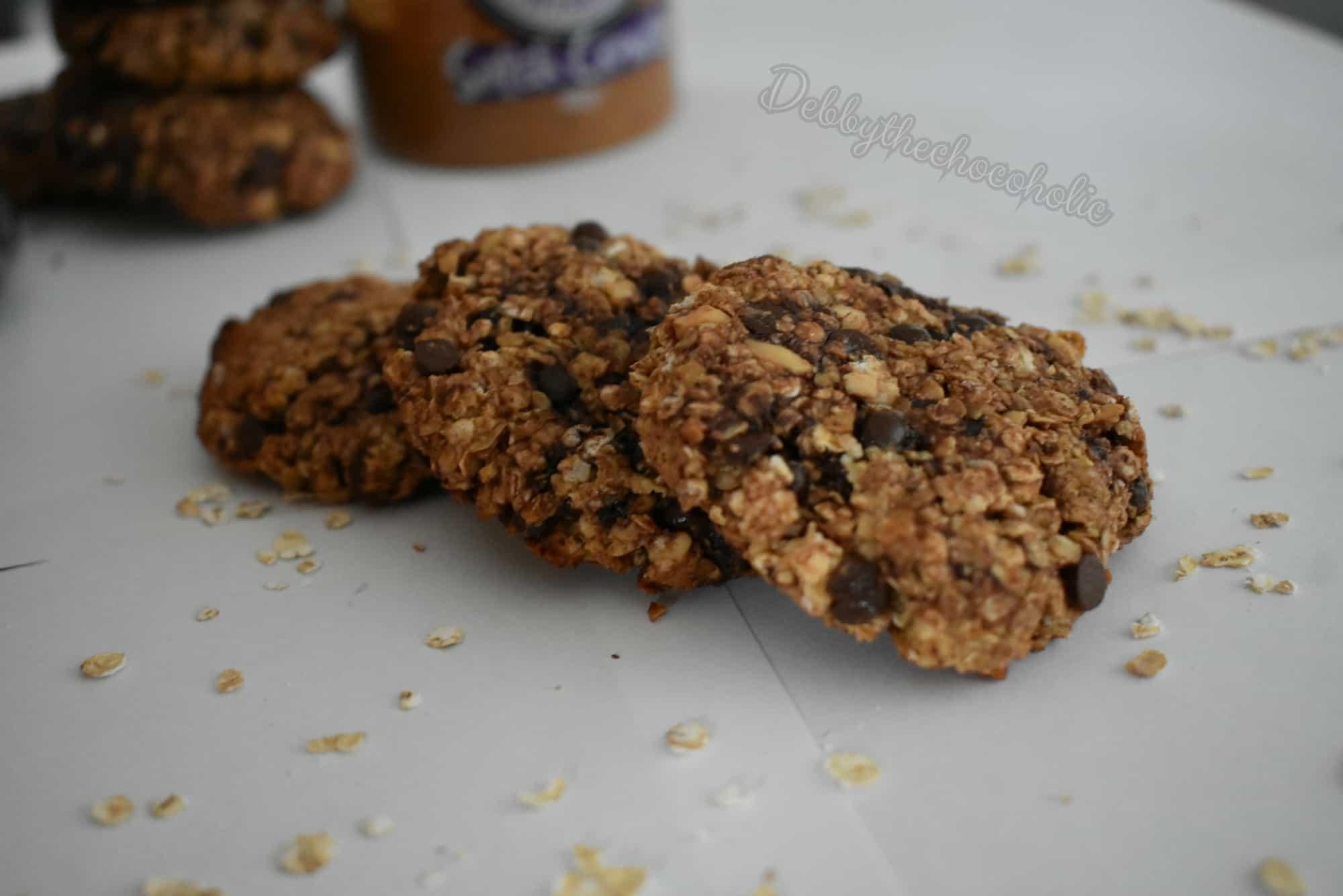 Havermoutkoekjes met pindakaas en chocolade